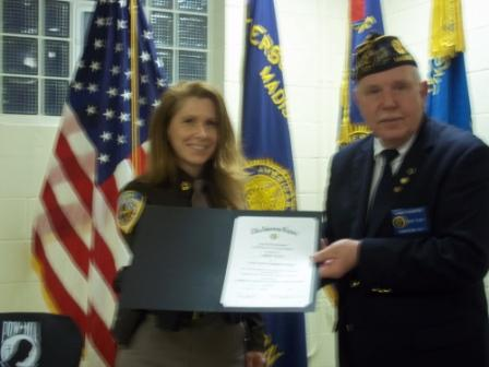Post 501 Cdr. Tom Stolarczyk awarded the Post 501 Law Enforcement Award for 2016 to Cheryl Patty of the Dane County Sheriff's Office - 3/19/2016