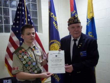 Post 501 Cdr. Tom Stolarczyk presenting to Matthew Ley the Dave Pomrenke Non-member Volunteer Award for 2015 for his Eagle Scout Project - 3/19/2016