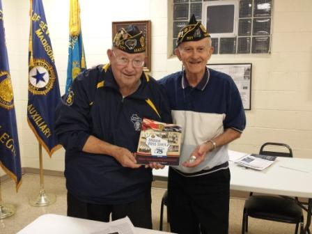 Ray McCool, Post 501 Chaplain, receiving recognition on 9/14/2016 for his service to Badger Boys State; presented by Past WI State Cdr., Bud Mautz, also of Post 501.