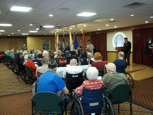 Veterans Day ceremony at Oak Place, Madison, WI, 11-11-2016.  Post 501 Legionnaires are assisting in the ceremony.
