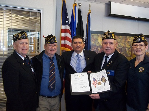 Presentation on Nov. 29, 2016, by Post 501 to Secretary John Scocos, retirement from WI Dept. of VA, for his long-term service to the American Legion.