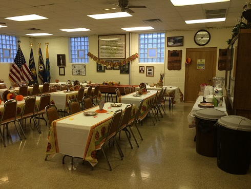 Clubhouse decorated for Thanksgiving event.