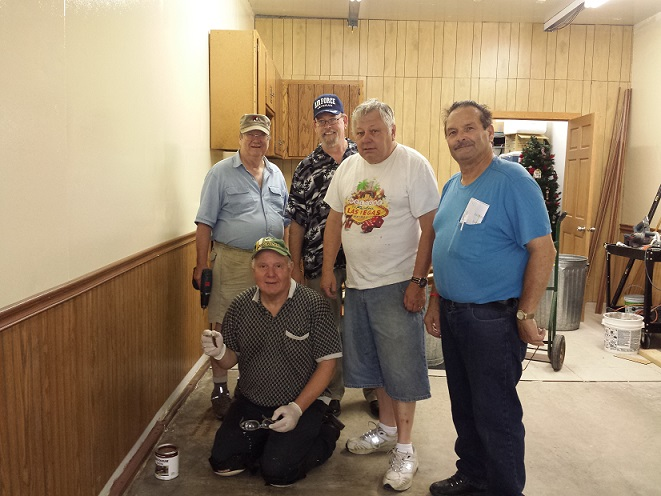 Construction Team, Legionnaires Cdr. Tom Stolarczyk, Bill Robbins, Mike Rhodes, Jerry Schultz, Rich Ruland, 7/31/2017.