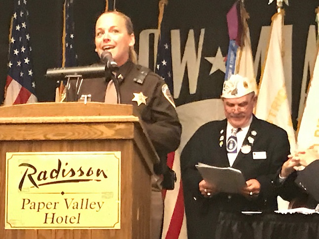 Dane County Deputy Sheriff, Josalyn Longley, upon receiving the WI Law Enforcement Officer of the Year for 2017, speaking at the WI American Legion 2017 Convention, 7/15/2017.