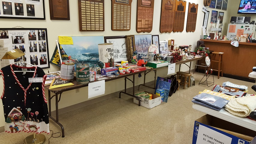 Setup for garage sale & book sale at Post 501, 9/22-23/2017.