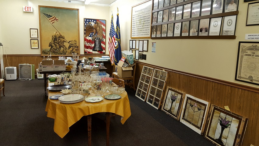 Items setup in the History / Auxiliary Mtg. room for garage sale at Post 501 on 9/22-23/2017.