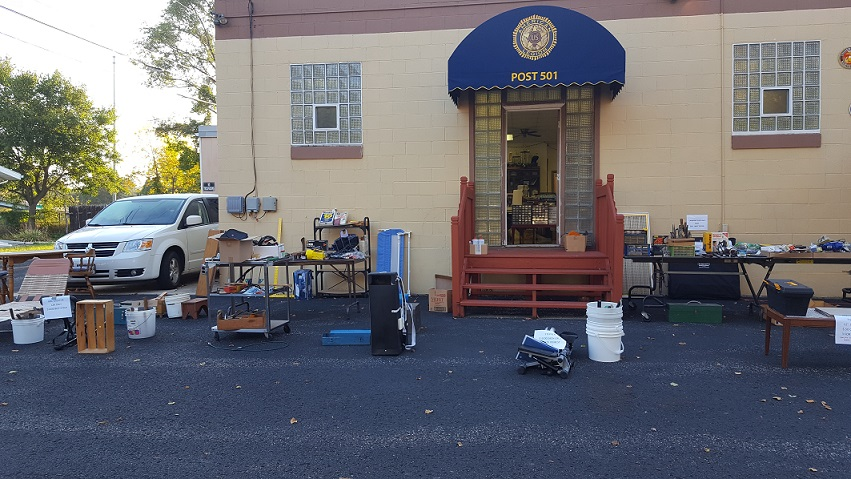 Outside view of garage sale items at Post 501, 9/22-23/2017.