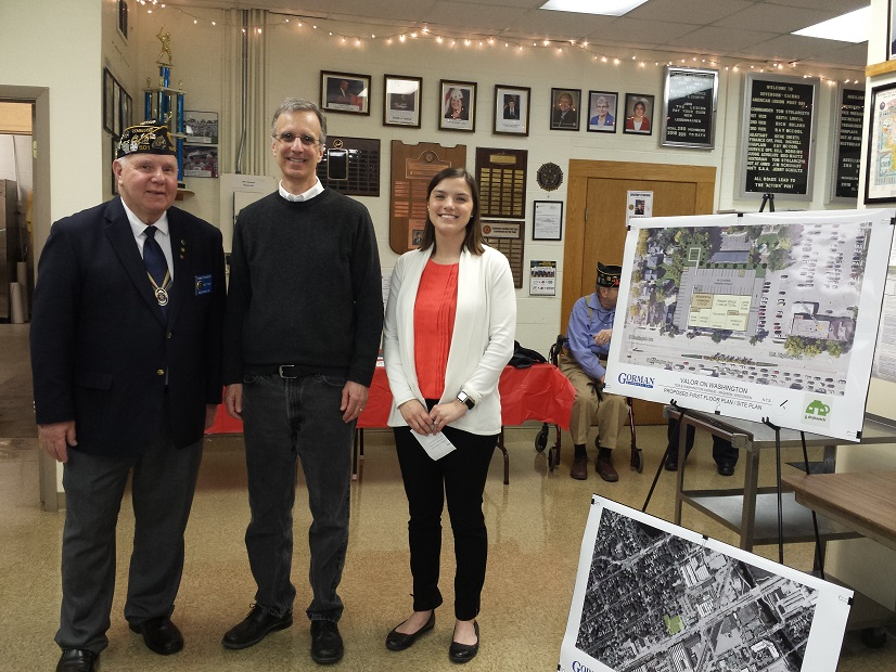 Post 501 Commander, Thomas Stolaryck, Dane County Executive, Joe Parisi, and Nicole Solheim, Project Manager with Gorman & Company