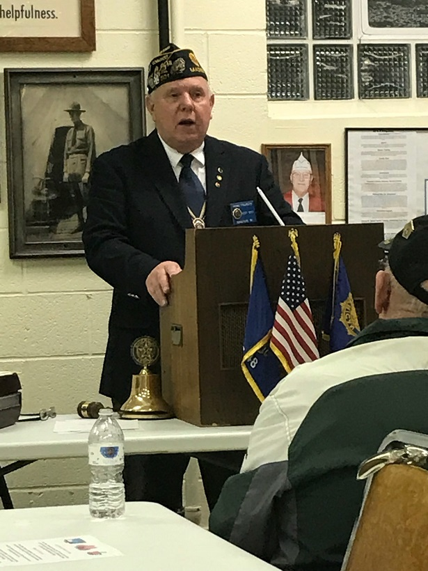 Post 501 Cdr. Tom taking charge on 4-11-2018.