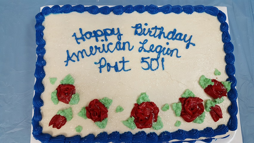 Special cake provided in celebration of Post 501's birthday, 3-24-2018.