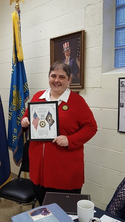Auxiliary President Rebecca Lovell received her 40th year Auxiliary Membership Award, 3-24-2018.