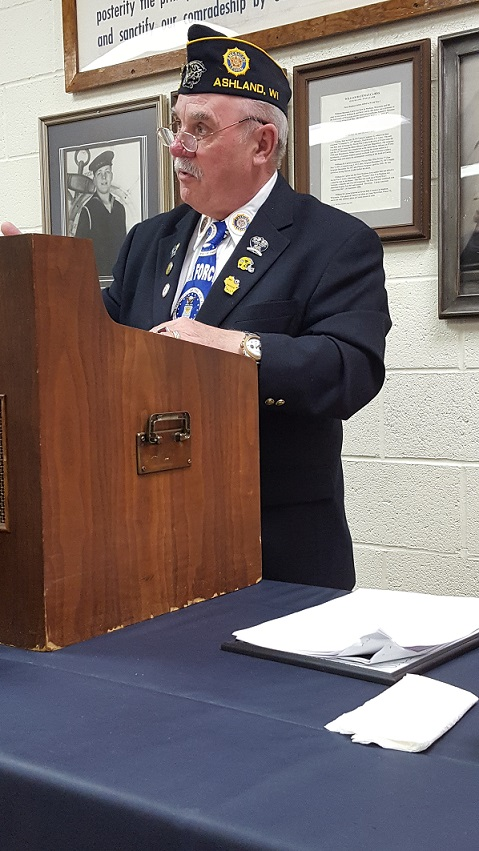 Presentation by guest speaker at the Birthday Dinner was 11th District Cdr. Frank Kostka, 3-24-2018.
