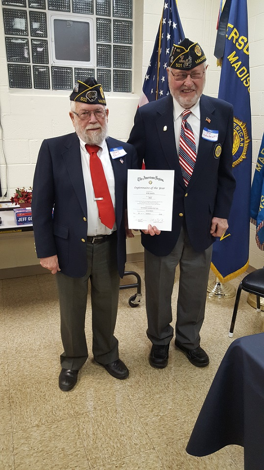 Jim Schuhart presents Post 501's Legionnaire of the Year to Gene Sheets, 3-24-2018.