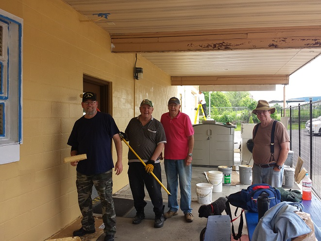 Mike, Tom, Carl & Bill taking a work break during the painting - 6-11-2019.