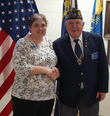Newly installed 2018-19 Unit 501 Auxiliary President, Rebecca Lovell, and Post 501 Commander, Thomas Stolarczyk - 6-13-2018.