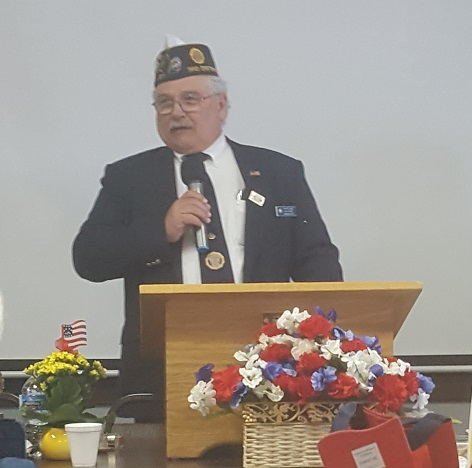 One of our own, newly elected 3rd District Commander, Keith Lovell, addressing the 3rd District American Legion Auxiliary Spring Conference - 4-28-2018.