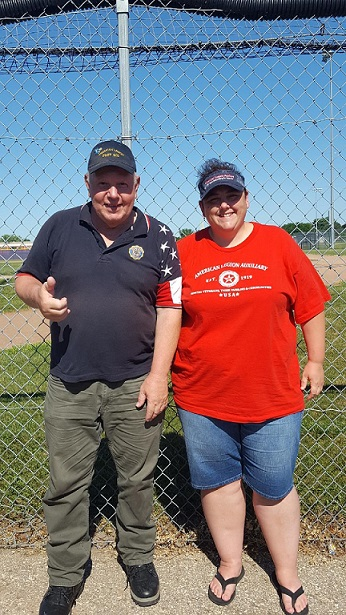 Legion Post 501 Cdr. Tom Stolarczyk and Aux. Unit 501 Pres. Rebecca Lovell were pleased spectators at the successful double header of Post 501's sponsored Legion Baseball Team - 7-8-2018.