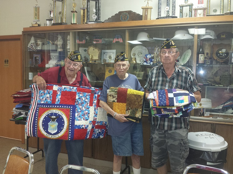Handmade quilts distributed to Post 501's deserving Legionnaires, Bud Mautz, Don Brinkmeier, & John Gaska, on August 8, 2018.