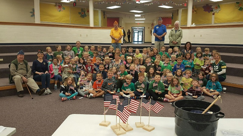 At the end of the program, all 1st graders and teachers received their personal American flag - 10-9-2018.