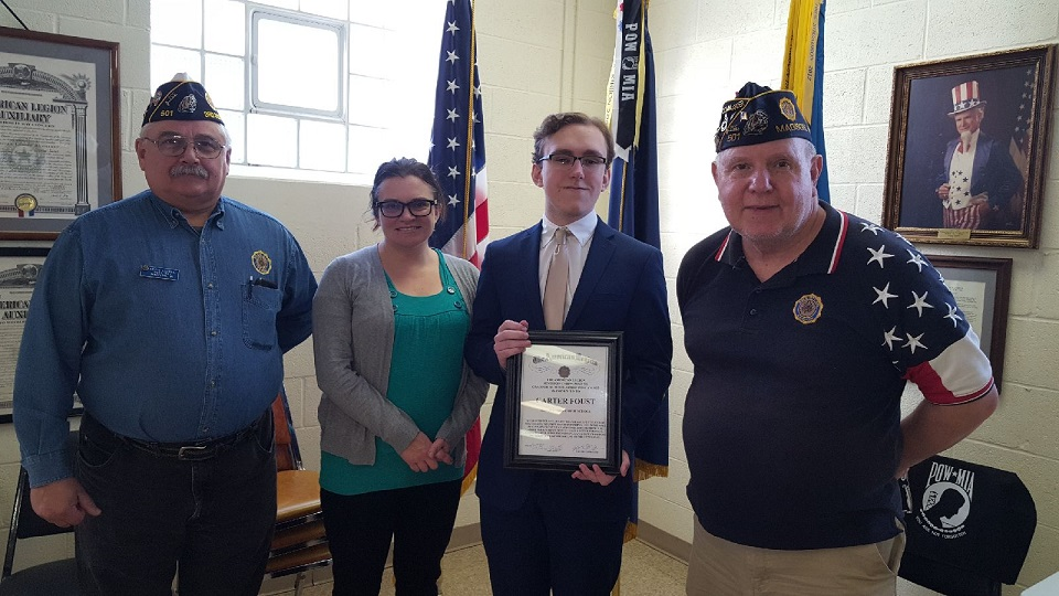 Cdr Tom Stolarczyk, Monona Grove Senior, Carter and his mother, Theresa, and 3rd District Cdr. Keith Lovell. present the Dane County Oratorical winning Scholarship, 1/5/2019.