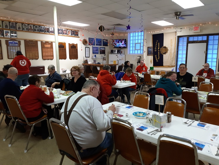 Many guests enjoying Post 501's Chili Dinner on 1/26/2019.