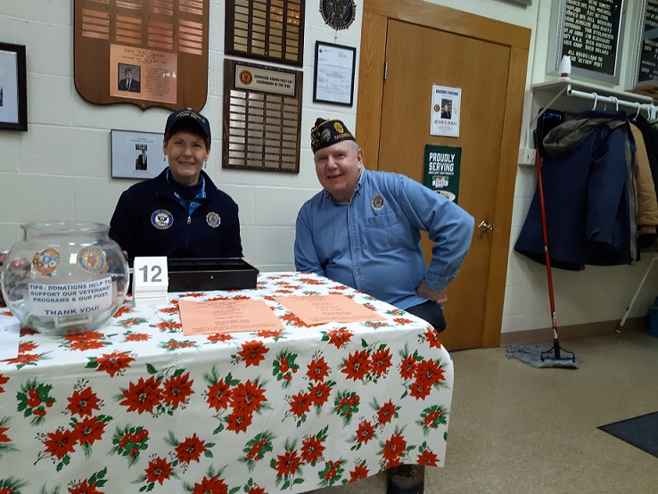Post 501's Cdr. Tom & Legionnaire Christine Robbins, welcoming our guests to Cdr. Tom's Chili Dinner at Post 501 on 1/26/2019.