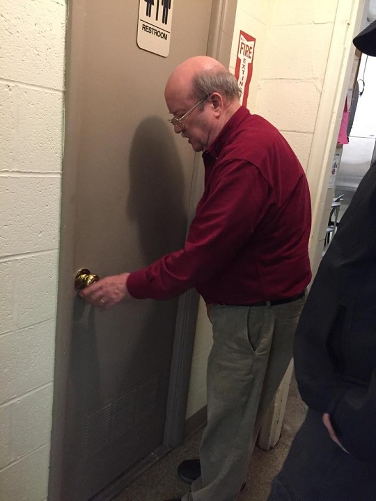 Matt, SAL member, got locked in the restroom.  Legionnaire Bill was first to rescue.