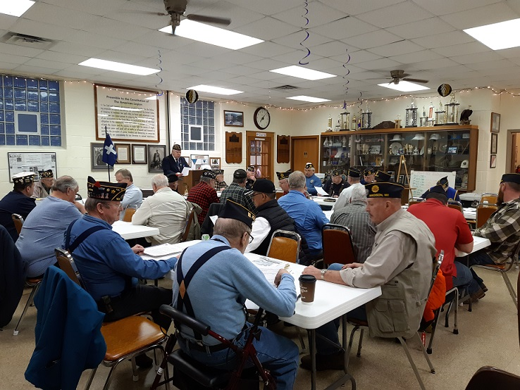 A full house of Legionnaires attending the March 13th Post 501 meeting.