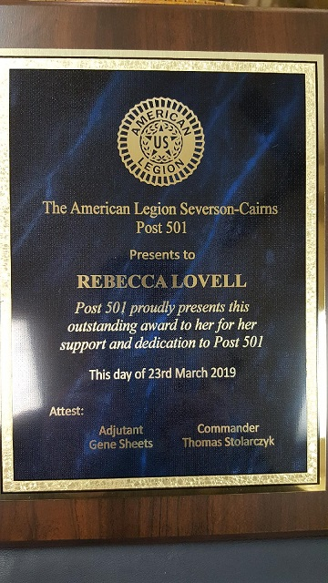 Outstanding Award presented to Unit 501's President, Rebecca Lovell.
