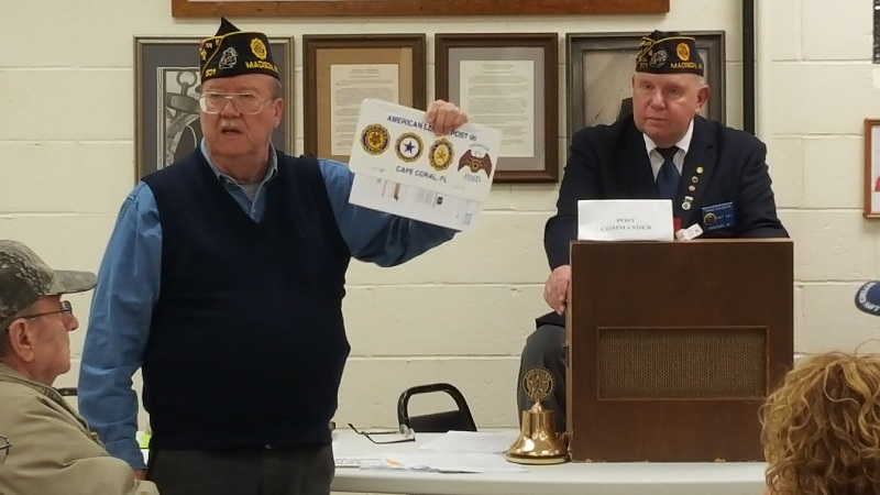 Legionnaire Robbins sharing with members the benefits of visiting other Legion Posts while on vacation, 4/10/2019.