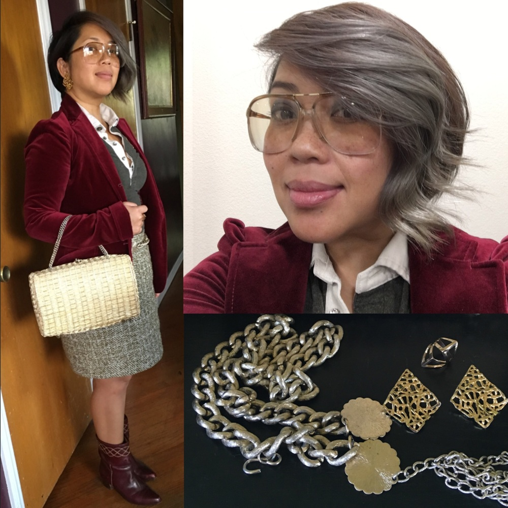 I'm having a great grey hair day!  Incorporated a grey rhinestone button up with a burgundy velvet suit jacket, gold accessories, and my mom's vintage burgundy boots for some brightness.
