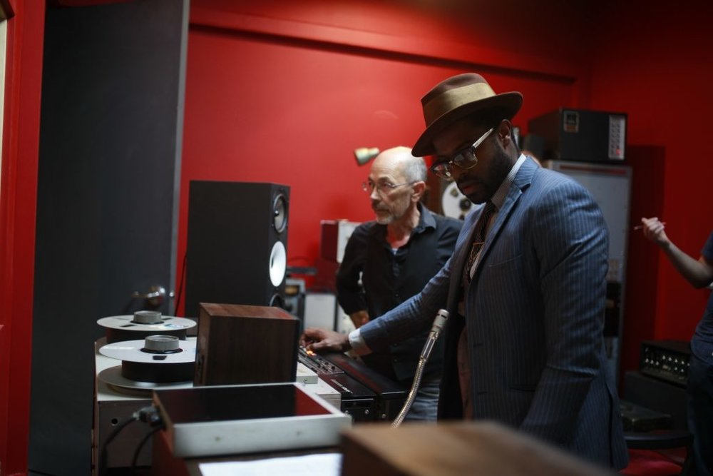 Adrian Younge and Jack Waterson in the Linear Labs Studio.
