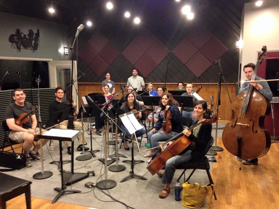 Recording Joseph Kern's Chamber Symphony at BRC Audio Productions in Kansas City, KS, in May 2015.