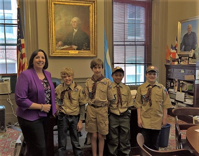 Mayor Driscoll along with scouts Darwin, Colin, Azriel and Gabrial.
