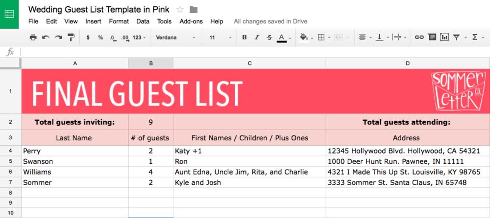 pink guest list template