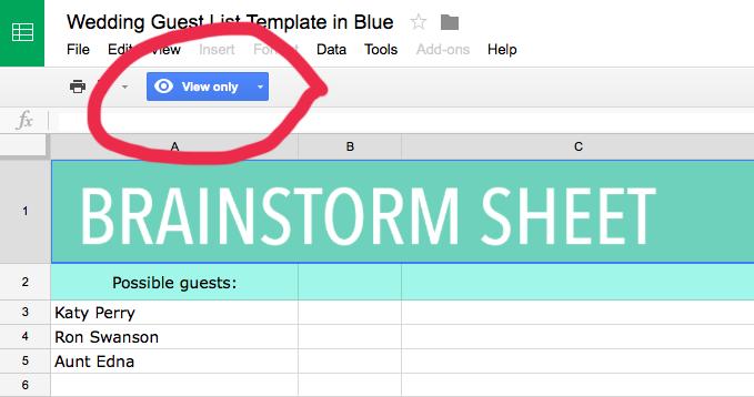Google sheet template for wedding guest list