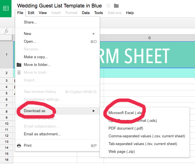Excel wedding guest list template Sommer Letter Co.