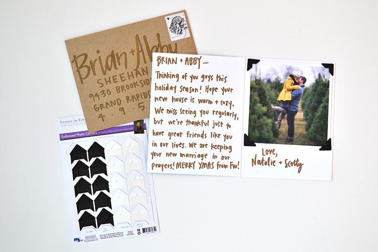 Example of Christmas card using black photo corners