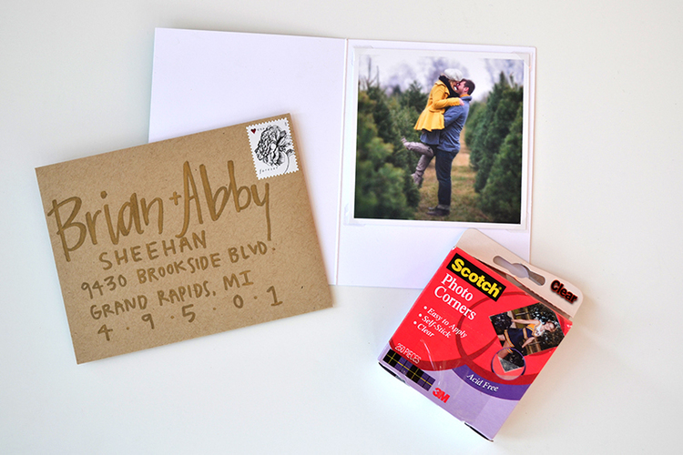 Using Scotch clear photo corners to create a family Christmas card