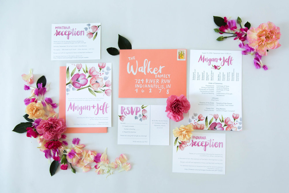 Coral and peach custom floral wedding invitation suite by Sommer Letter Co.
