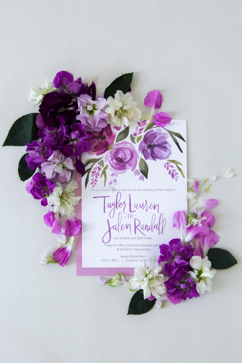 Hues of purple and lavender custom wedding invitation by Sommer Letter Co.
