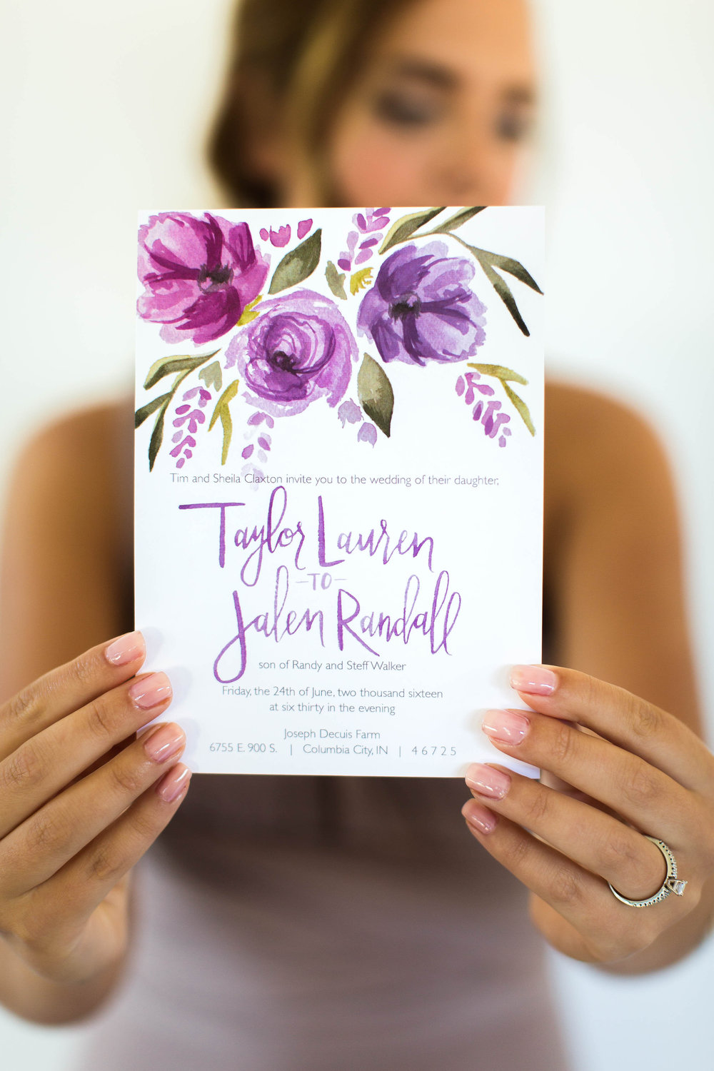 Shades of lavender amethyst violet wine watercolor wedding invitation by Sommer Letter Co.