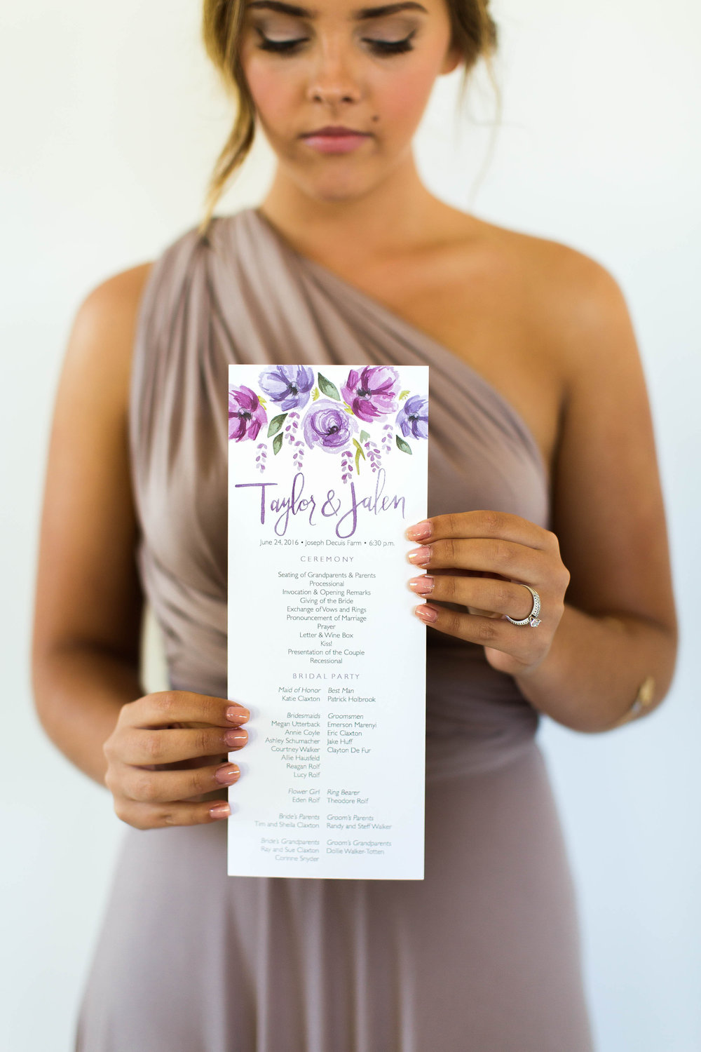 One sided long tall wedding program by Sommer Letter Company