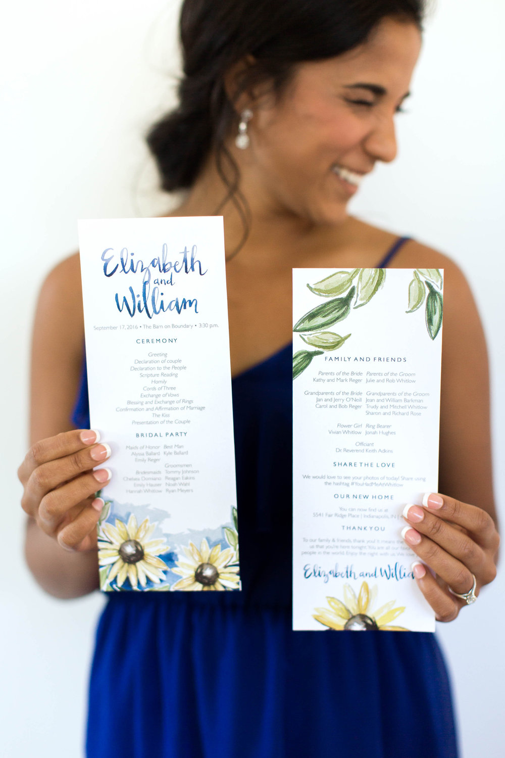 Royal blue and sunflower hand drawn wedding program by Sommer Letter Co.