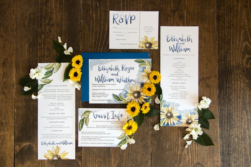 Watercolor sunflower wedding stationery suite by Sommer Letter Co.