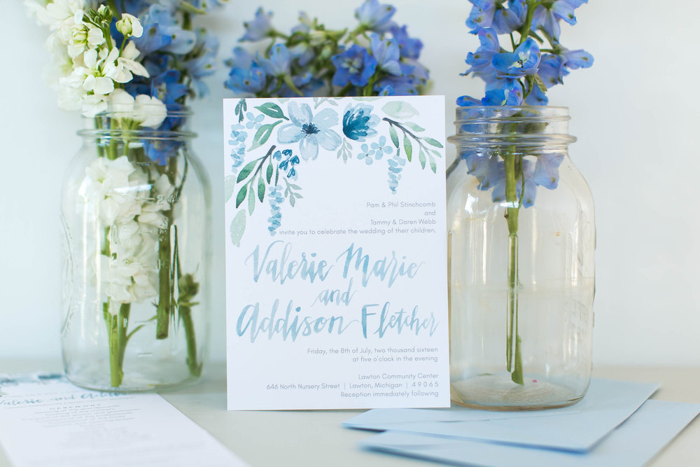 Light blue floral wedding invitation by Sommer Letter Company