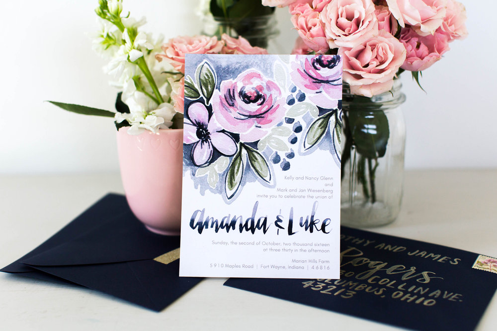 Blush roses with navy wedding invitation by Sommer Letter Company