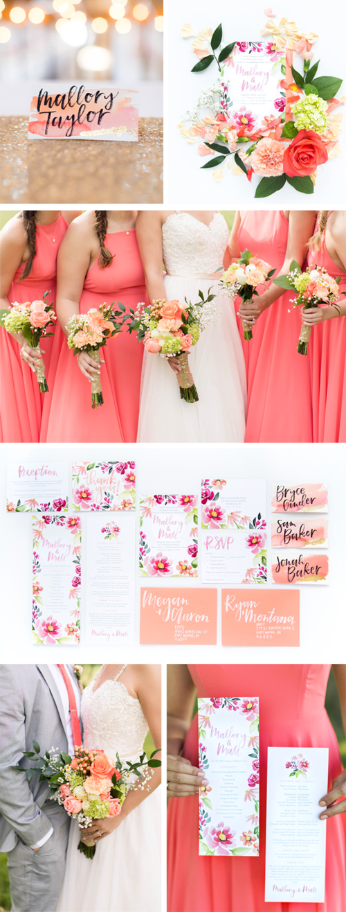 coral wedding invitation and stationery inspiration