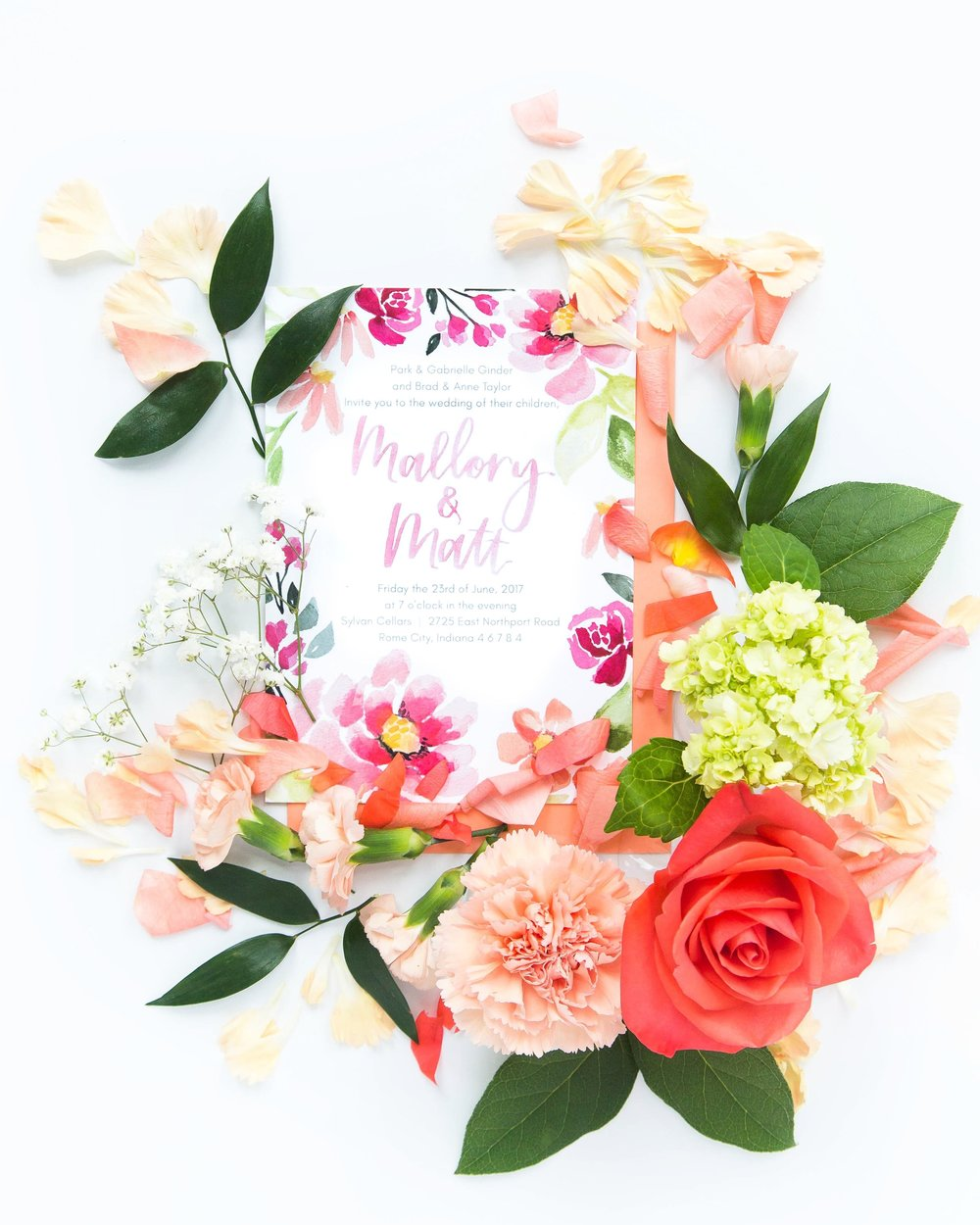 coral and pink wedding invitation by Sommer Letter Co.