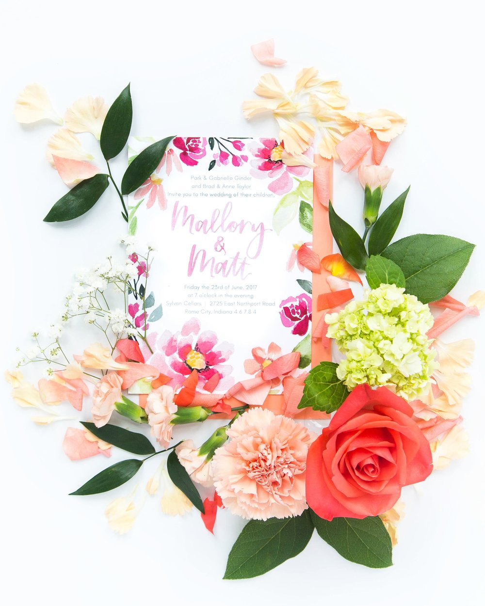 coral and peach floral pattern custom watercolor wedding invitation by Sommer Letter Co.